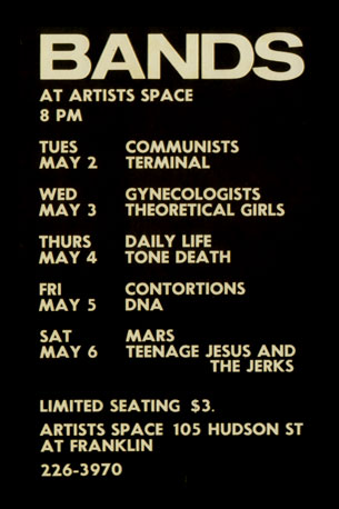 Bands at Artists Space, flyer, 1978
