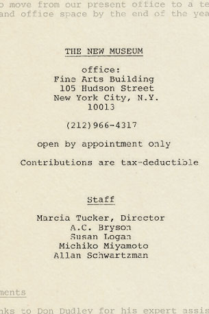 """Contact information and staff listing from the catalogue """"Memory,"""" the first New Museum exhibition, 1977"""