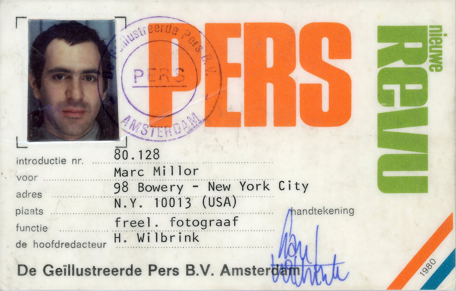Press ID issued by the Nieuwe Revu, 1980