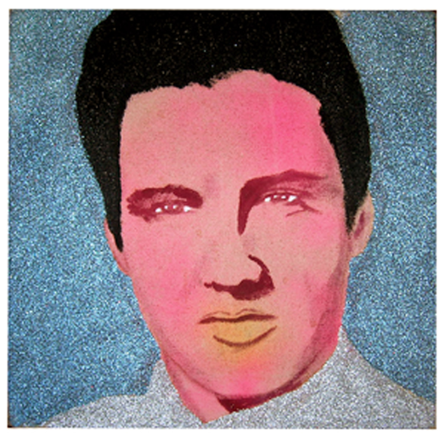 "Carla Dee Ellis, ""Elvis,"" spray paint, acrylic and glitter on canvas, 12"" x 12"", c. 1972"