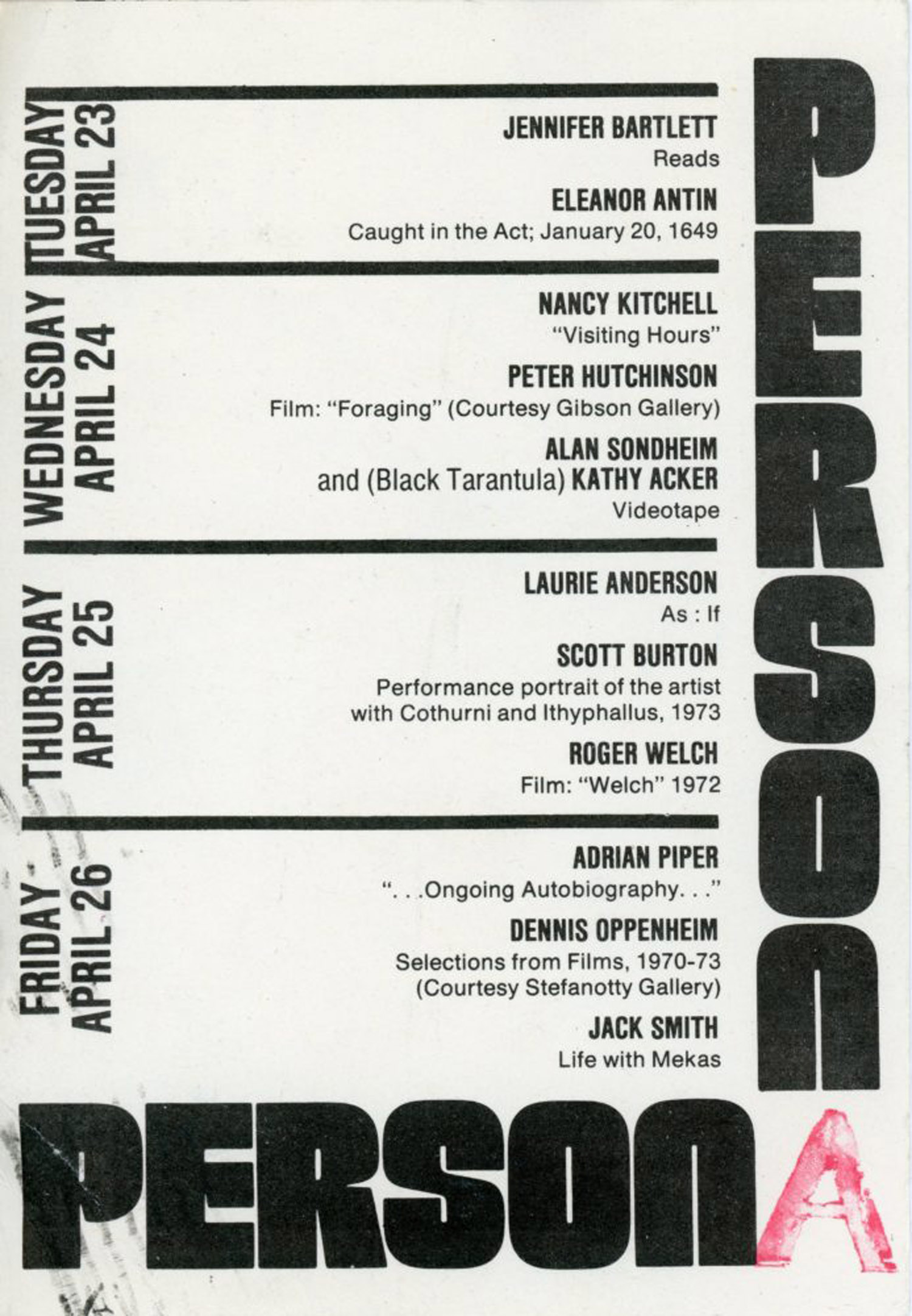 Artists Space, Sponsored by Art-Rite Magazine, Persona with Laurie Anderson, Adrian Piper etc, Card, 1974