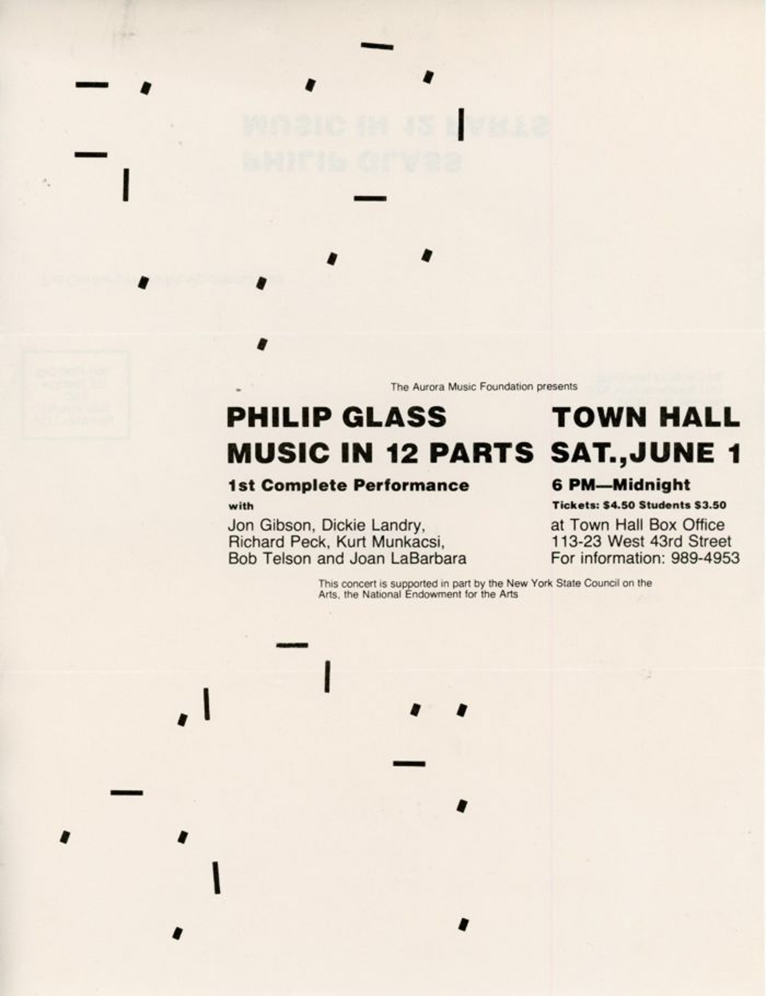 Philip Glass, Music in 12 Parts, First Complete Performance, Flyer, 1974