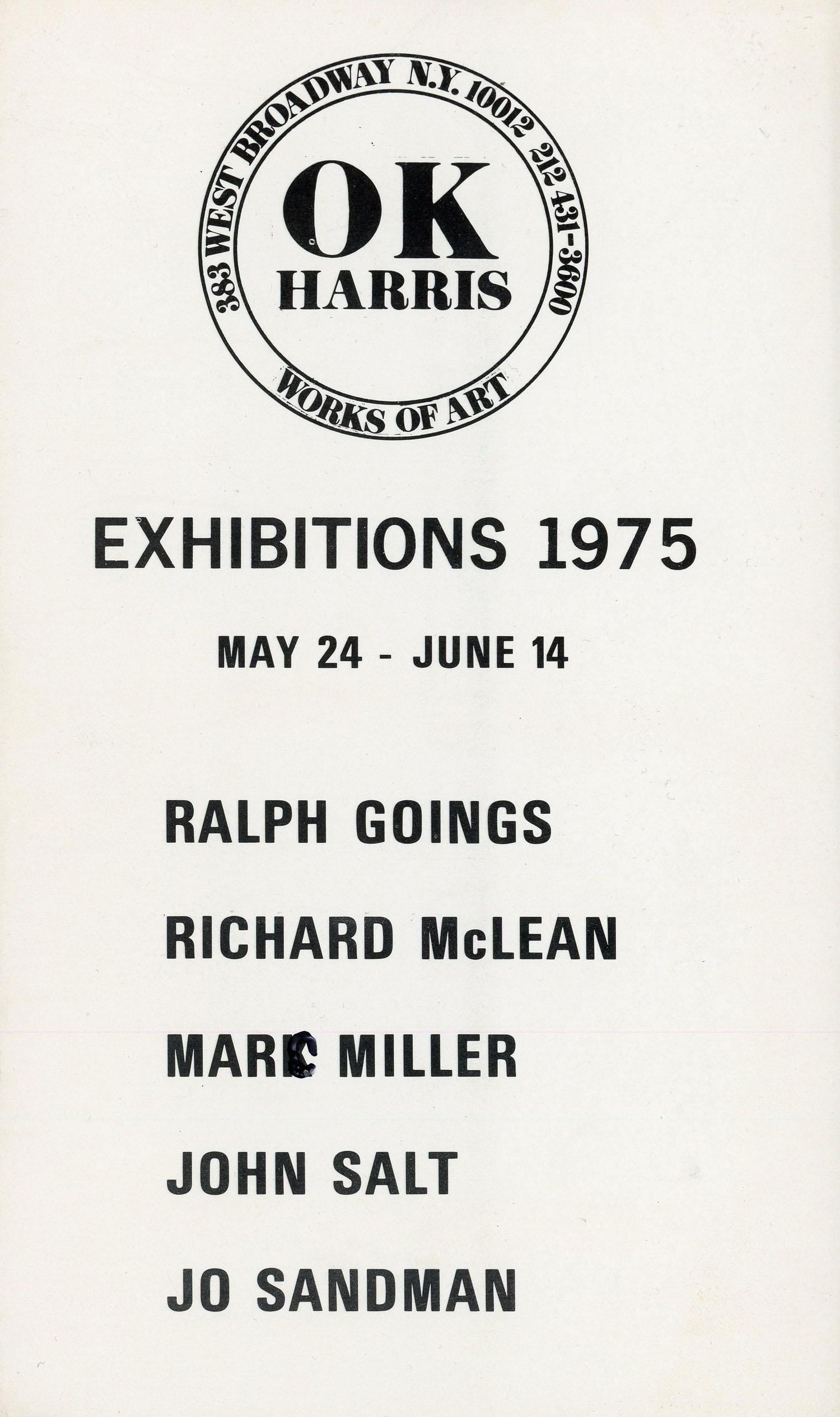 OK Harris, Marc H Miller, Card, 1975