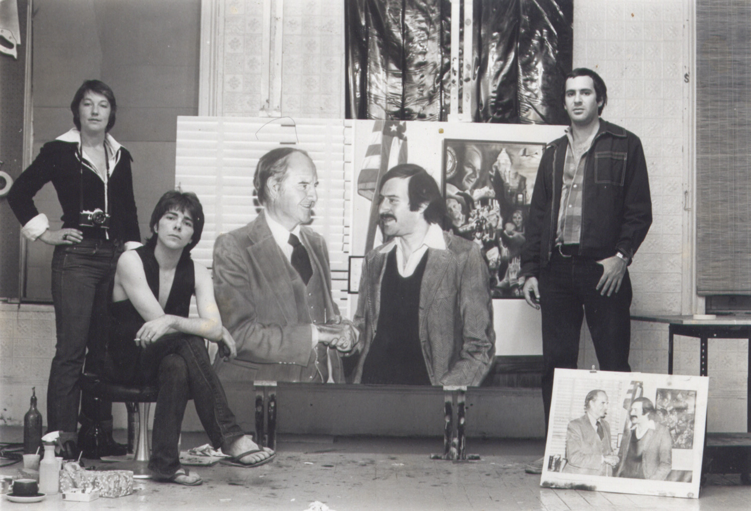 Miller, Ringma & Hoppe posing with the painting
