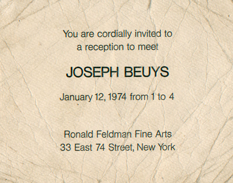 Ronald Feldman Fine Arts, Joseph Beuys, Card, 1974