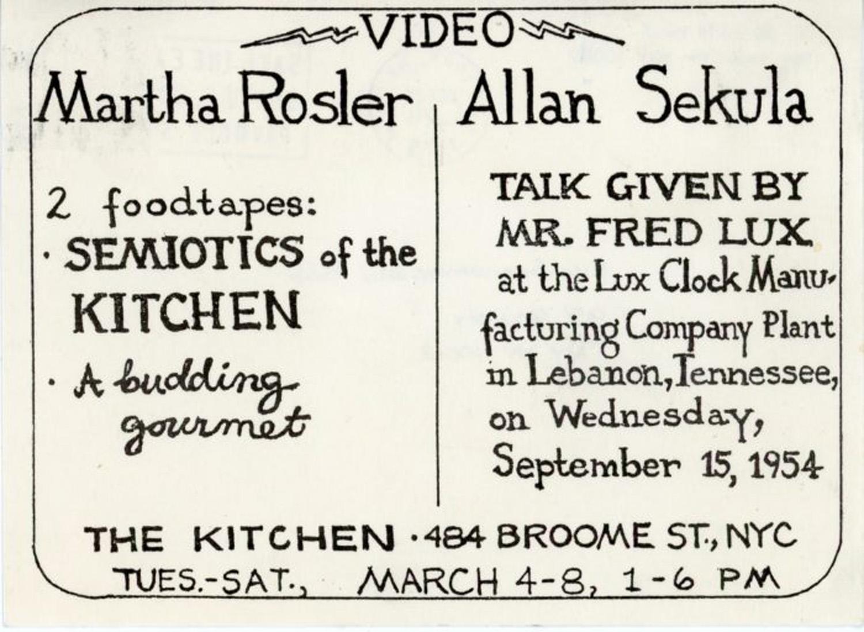 The Kitchen, Martha Rosler & Allan Sekula, Card