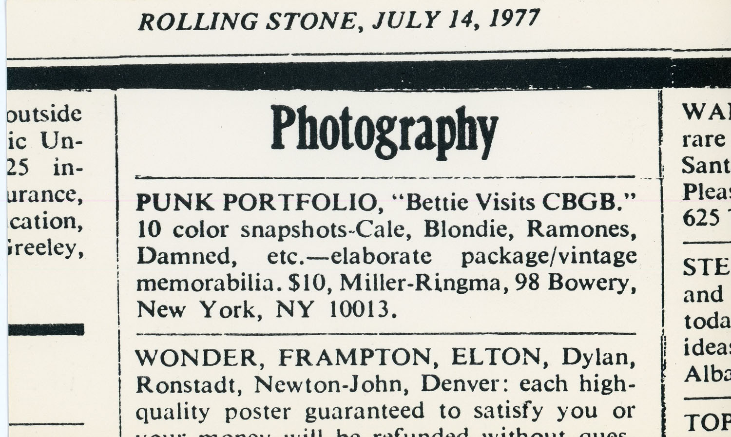 Advertisement for 'Bettie Visits CBGB' Punk Portfolio in Rolling Stones, 1977