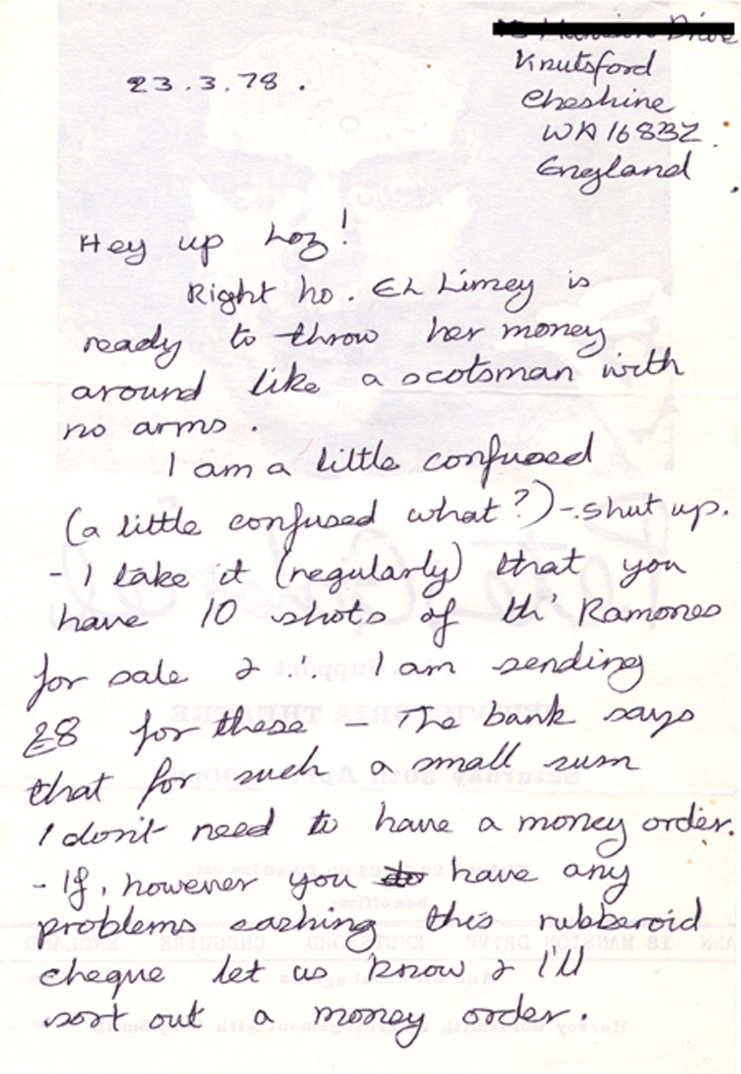 Letter from 'El Limey'