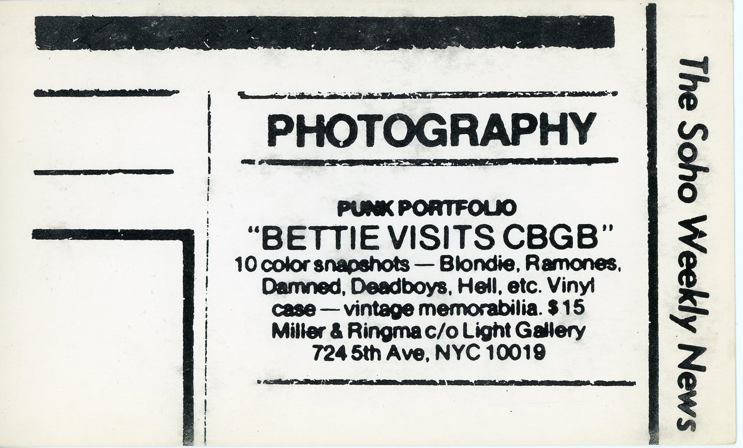 LIGHT Gallery, Miller & Ringma, Bettie Visits CBGB, Promotional Card, 1978
