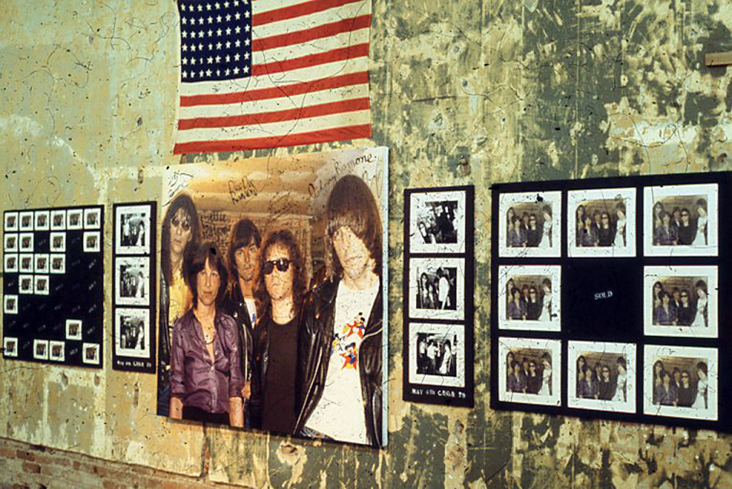 """Miller, Ringma & Hoppe, """"Bettie with the Ramones"""" on display at the Punk Art Exhibition, Washington DC, 1978"""