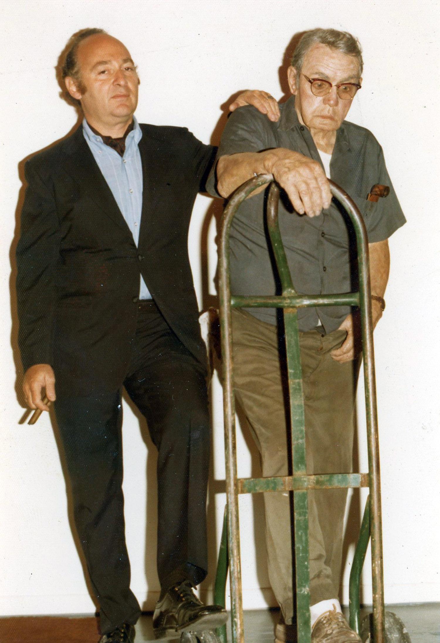 Ivan Karp of OK Harris with Duane Hanson sculpture, 1975