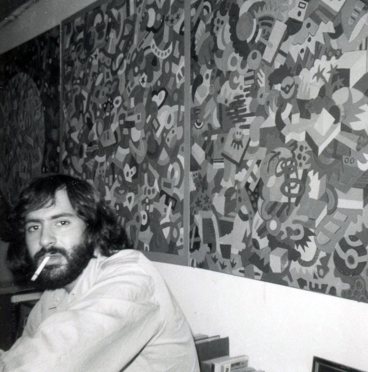 Marc H Miller with his paintings, c. 1970