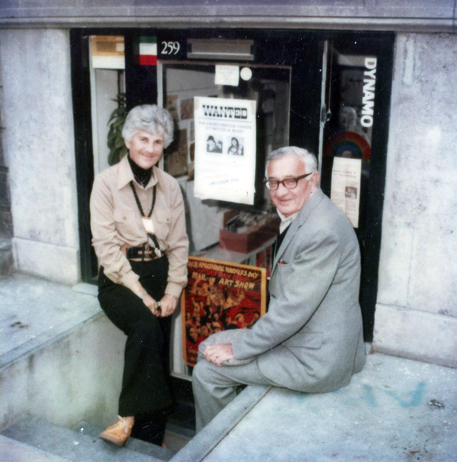 Sadie and Sam Miller outside Art Something, 1980