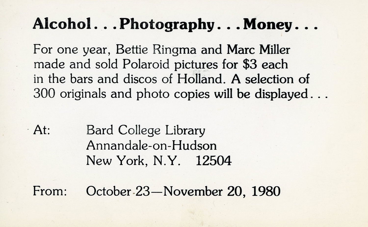 Card advertising an exhibition of the Amsterdam Polaroids at Bard College, 1980