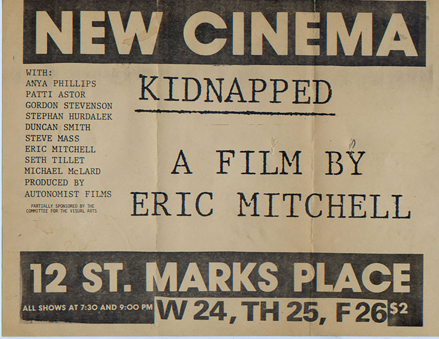 New Cinema, Eric Mitchell, Kidnapped, Poster, 1978