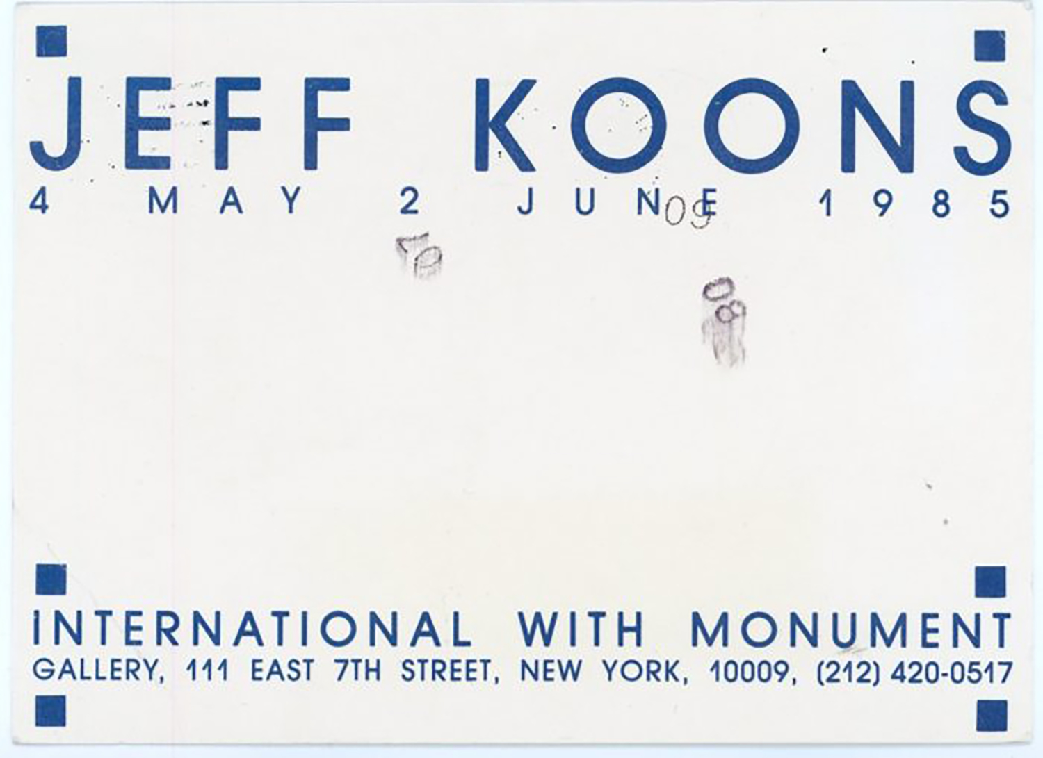 International With Monument, Jeff Koons, Card, 1985