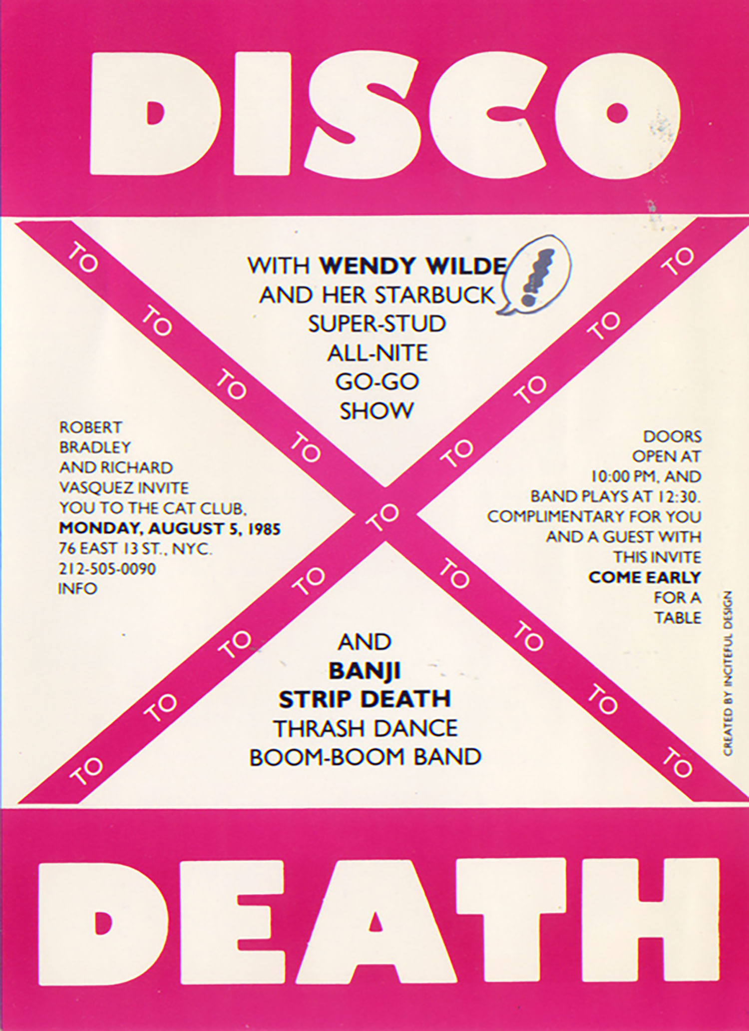Cat Club, Disco to Death With Wendy Wild, Postcard, 1985