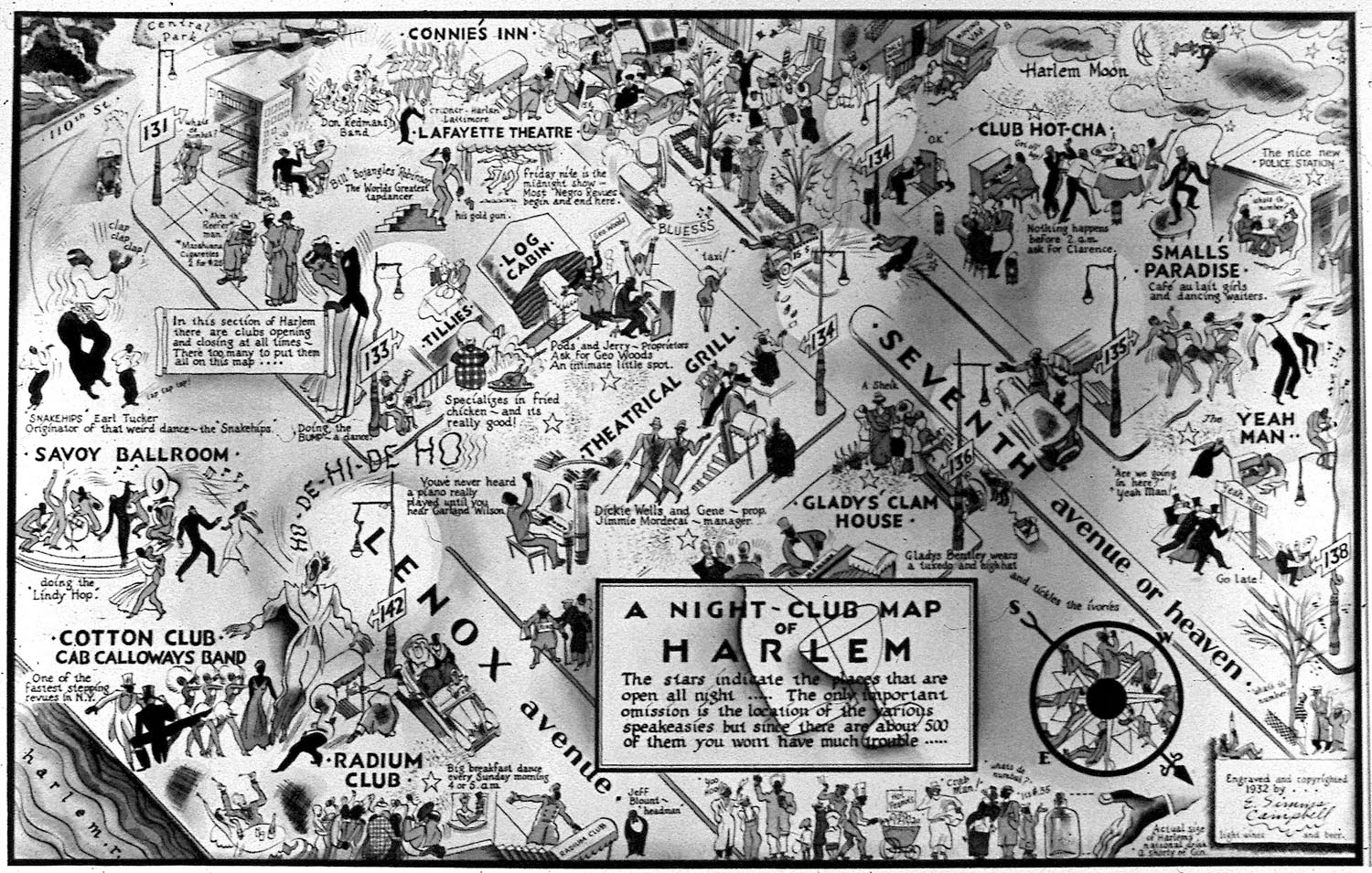 """E. Simms Campbell, """"A Night-Club Map of Harlem,"""" 1932"""