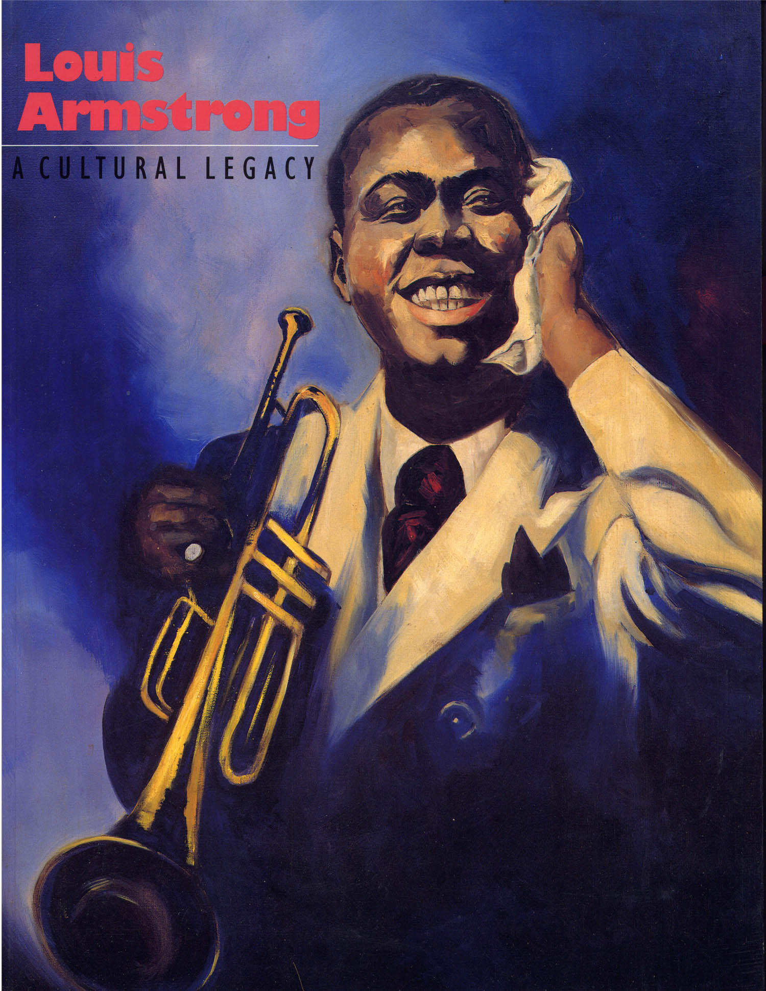 Catalogue for Louis Armstrong: A Cultural Legacy (University of Washington Press, 1994). Painting by Calvin Bailey (1948) after a photograph by Anton Bruehl.  Painting owned by the Louis Armstrong House.