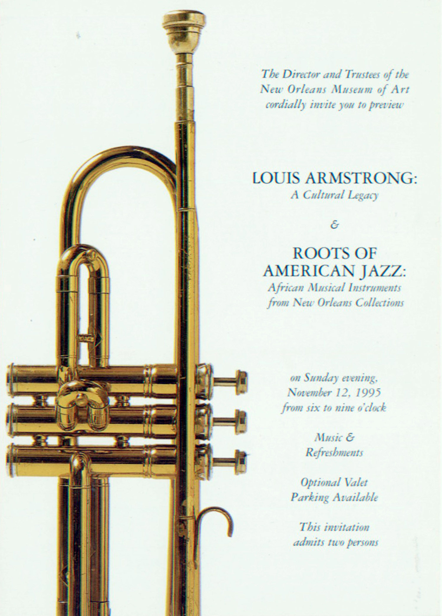 """Invitation to the preview for """"Louis Armstrong: A Cultural Legacy"""" at the New Orleans Museum of Art"""