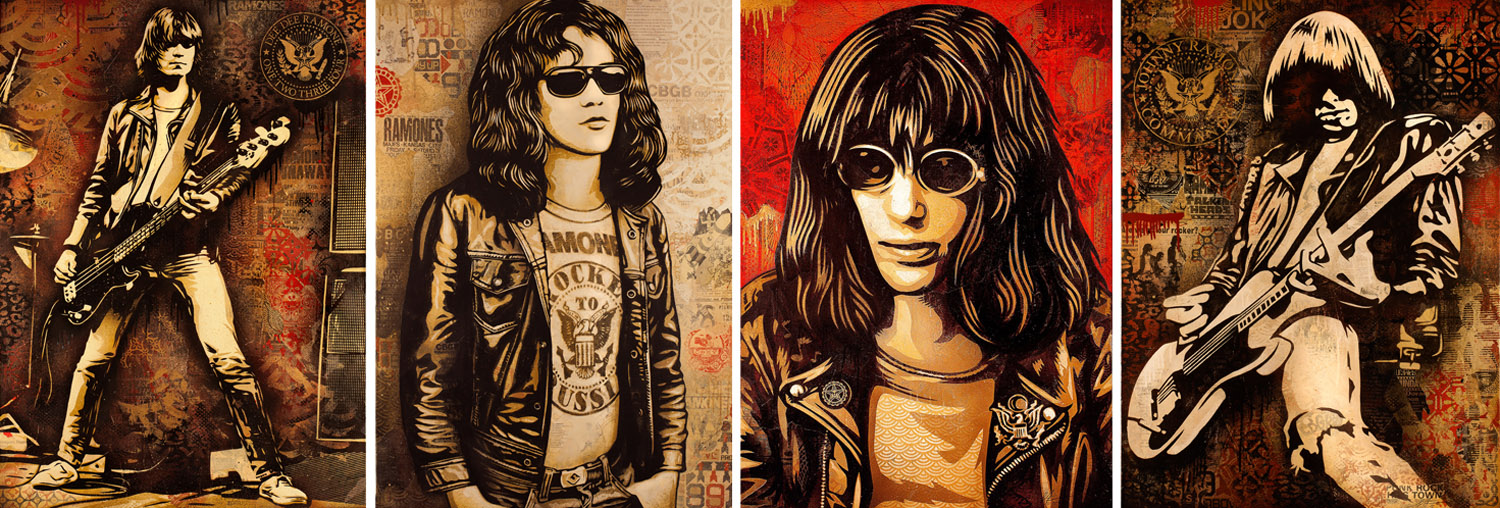 Shepard Fairey's portraits of the four original Ramones. Left to right: Dee Dee, Tommy, Joey, and Johnny. Courtesy the artist and OBEY Art.