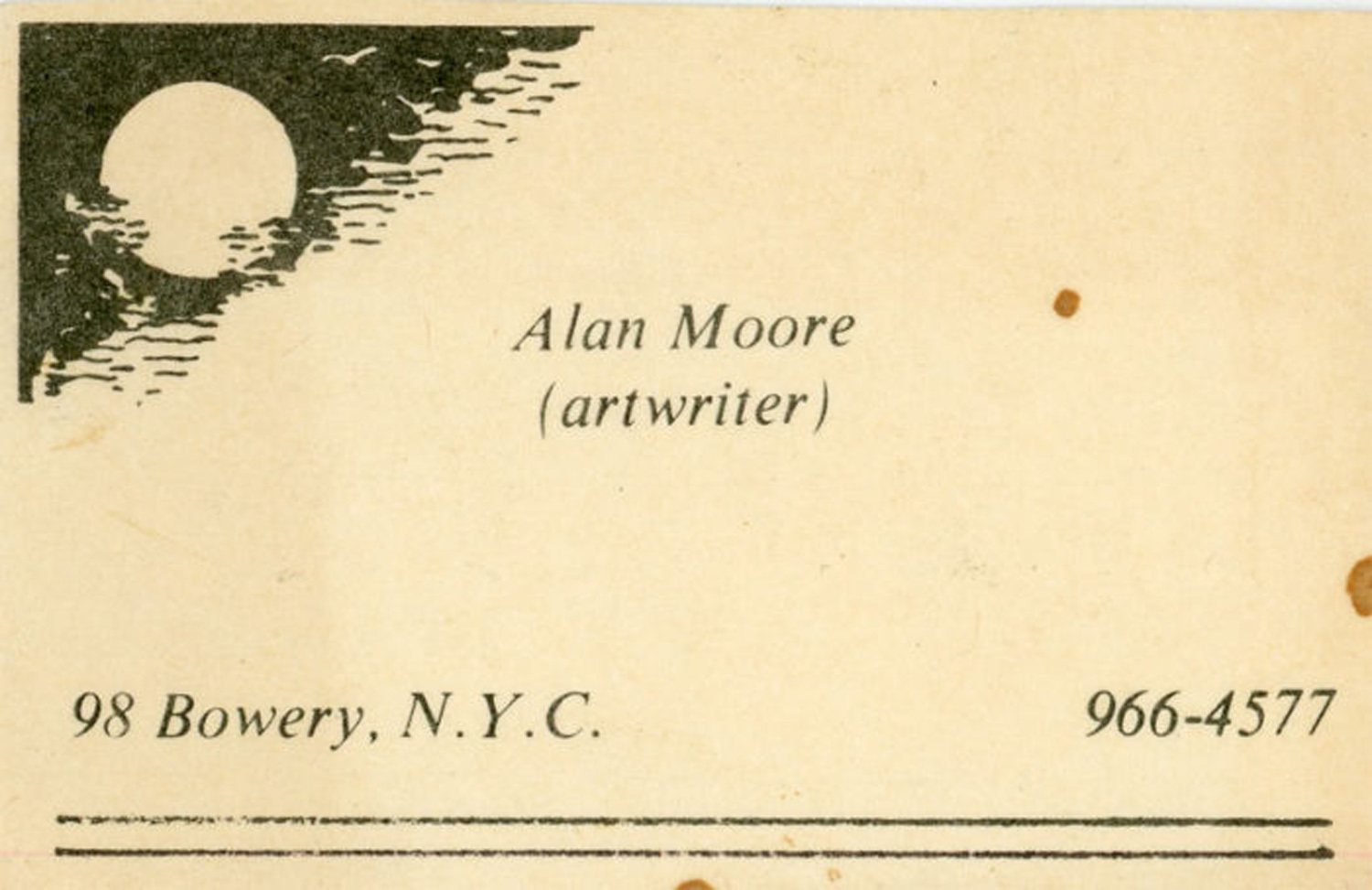 Alan Moore, Business Card, c. 1975.