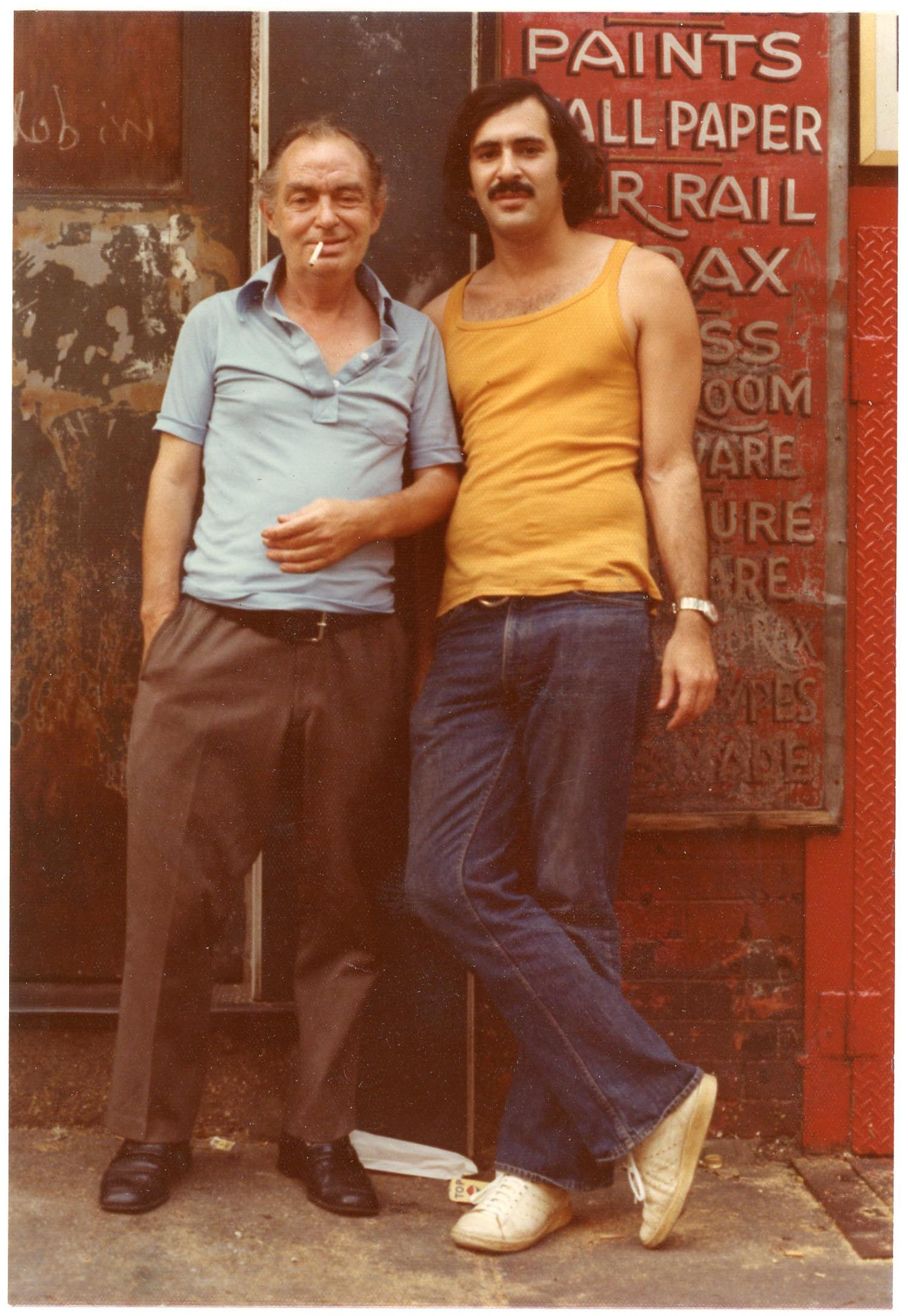 Jimmy and Marc in front of the door at 98 Bowery, 1975