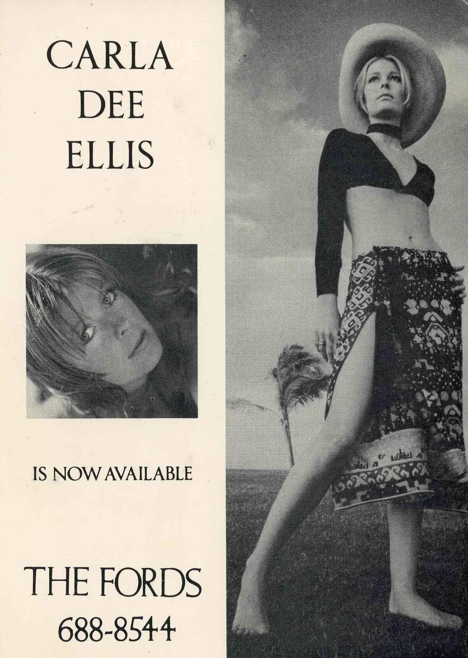 Ford Modeling Agency postcard for Carla, c. 1971.