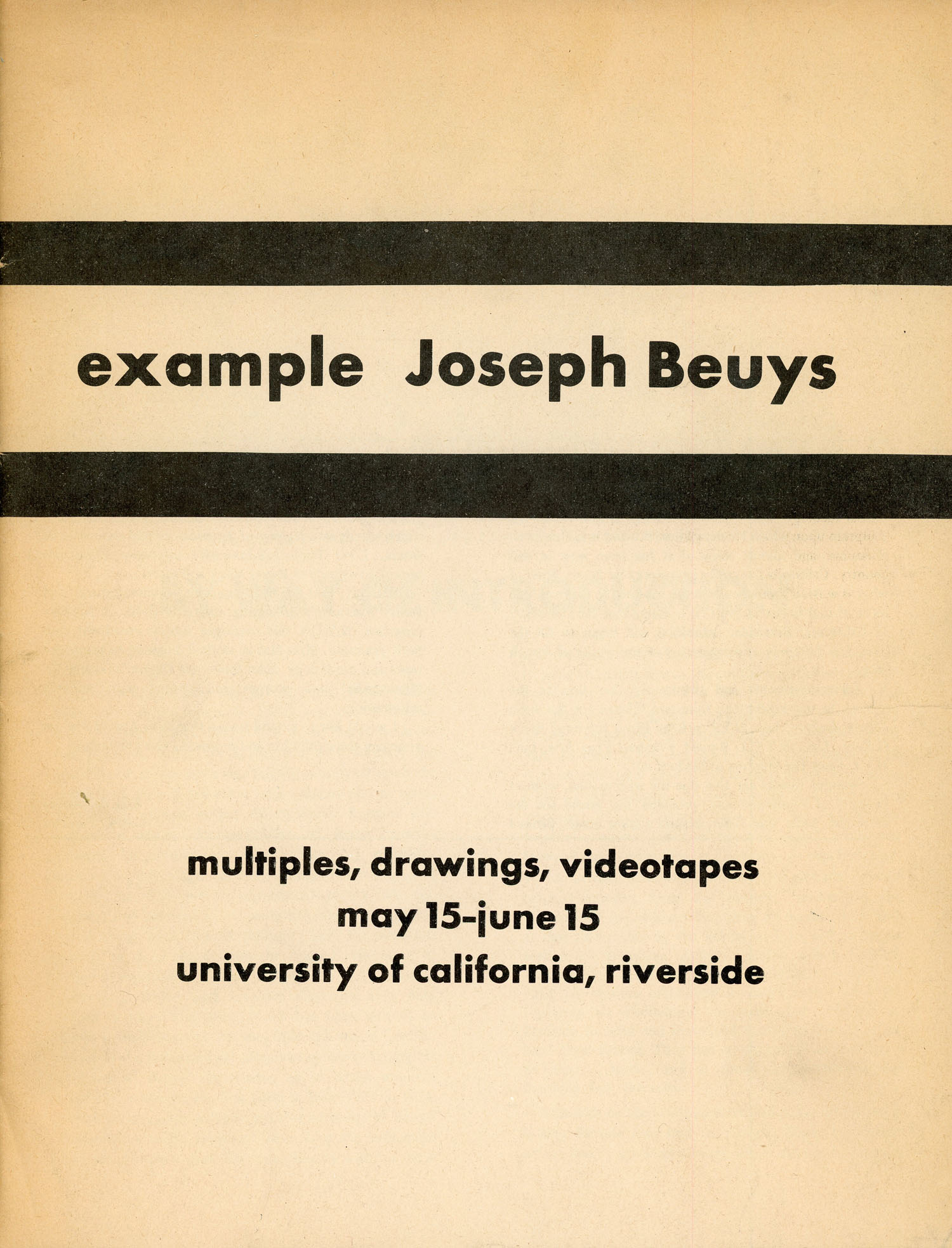 Alan Moore with the University of California, Riverside, example Joseph Beuys, Exhibition Catalogue, c. 1974.