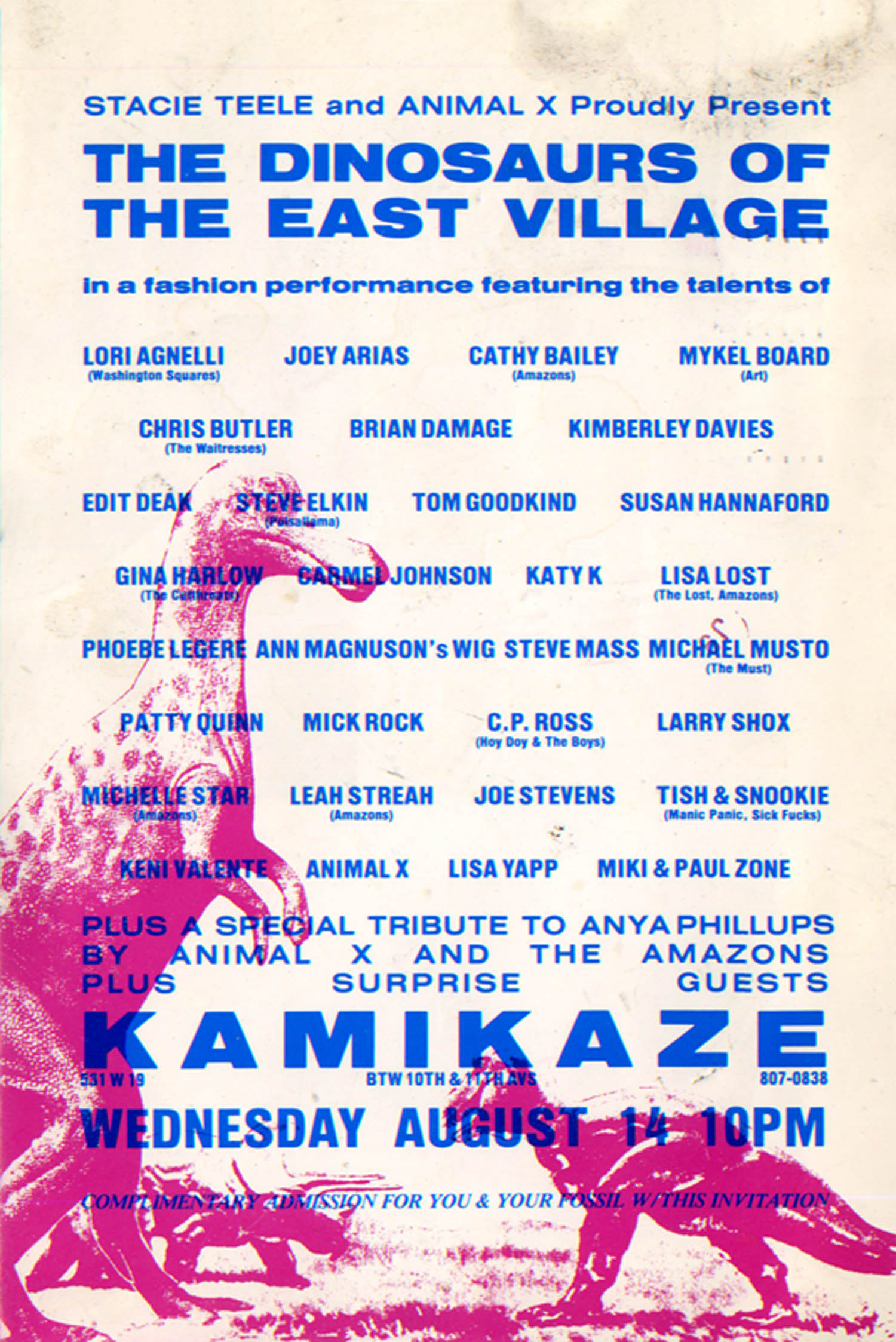Kamikaze, Dinosaurs of the East Village Art Exhibition And Anya Phillips Tribute, Card, 1985