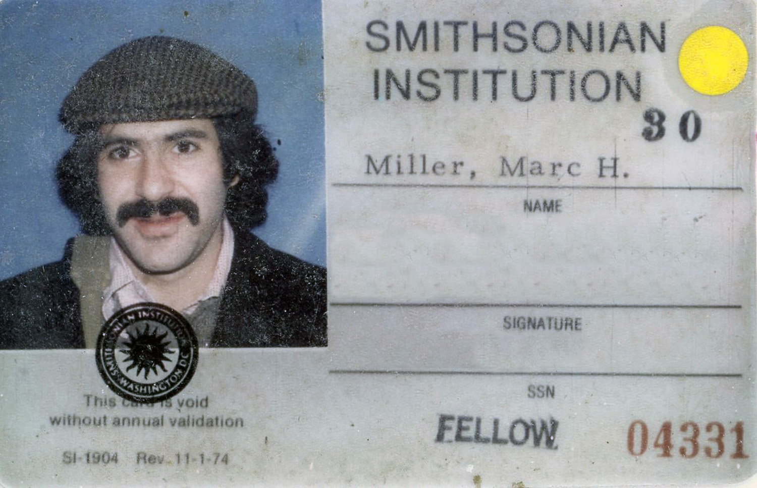 Marc's ID card for Smithsonian Institution, c. 1975
