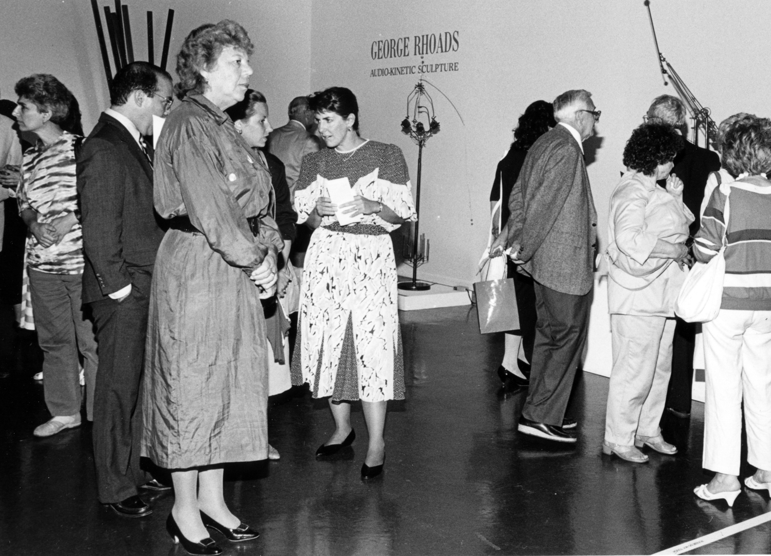 Queens Borough President Claire Shulman and Queens Museum director Janet Schneider at the opening of  George Rhoads: Audio-Kinetic Sculpture , 1987