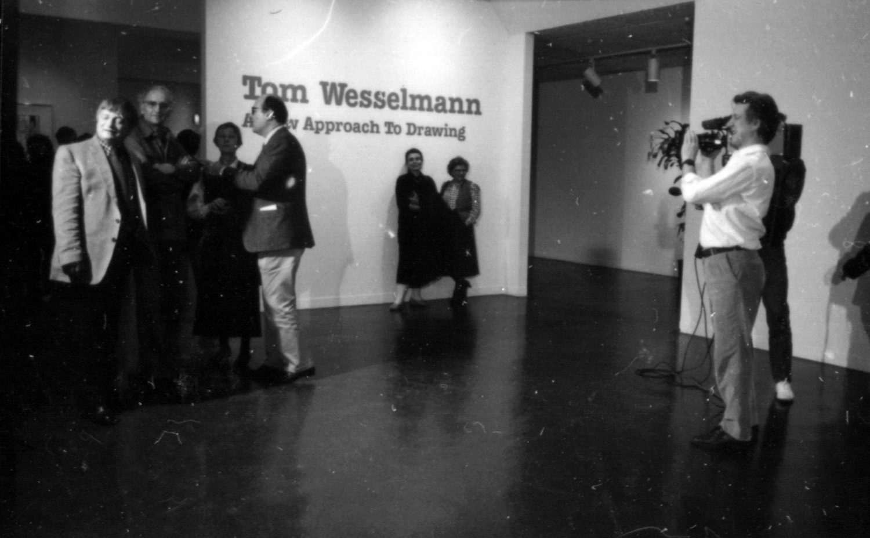 Paul Tschinkel videotaping Tom Wesselmann at  Tom Wesselmann: A New Approach to Drawing , 1987