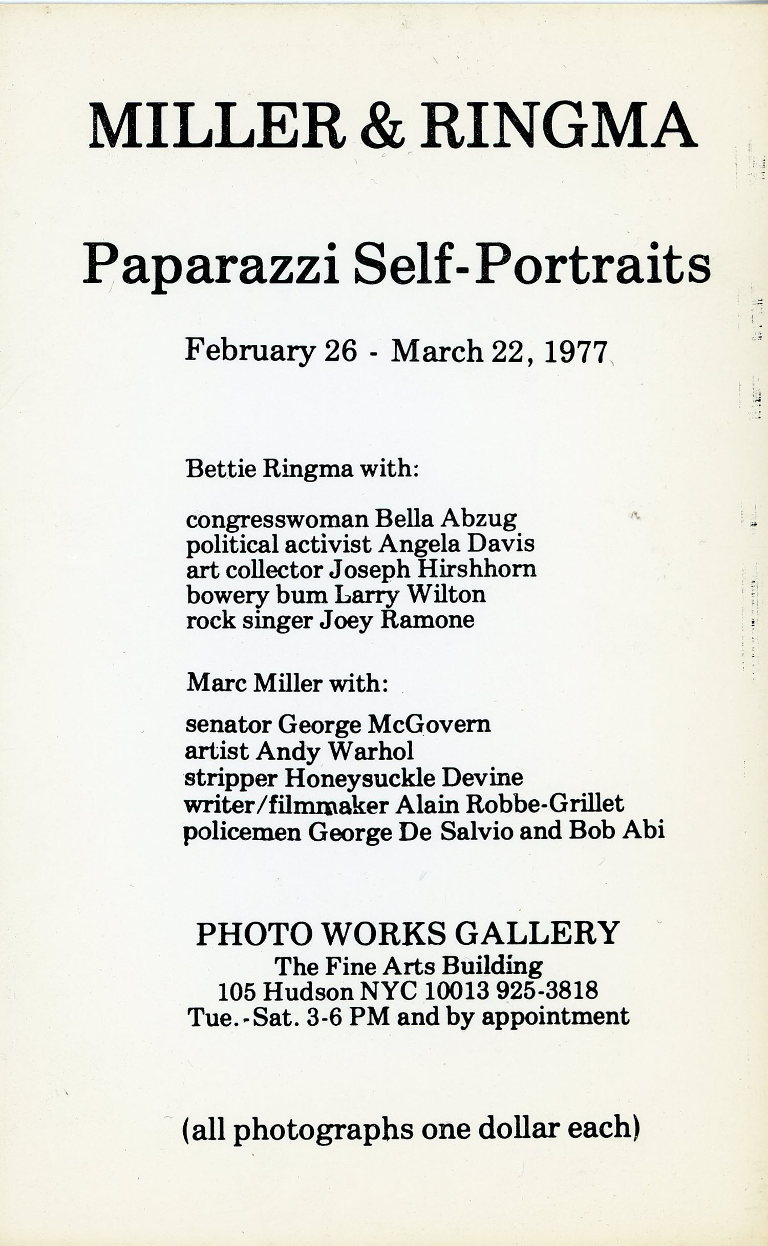 Postcard for 'Paparazzi Self-Portraits' at Photo Works Gallery, 1977
