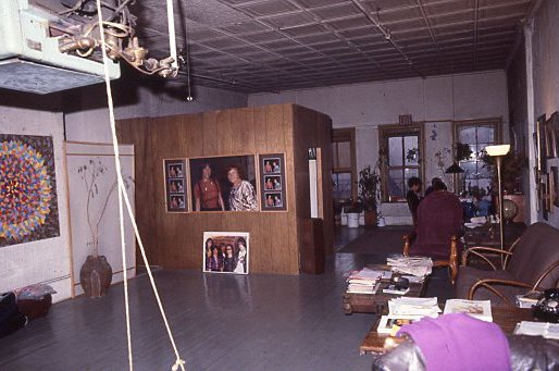 View of the loft looking towards Bowery, c. 1980. Paintings by Marc and Curt visible.