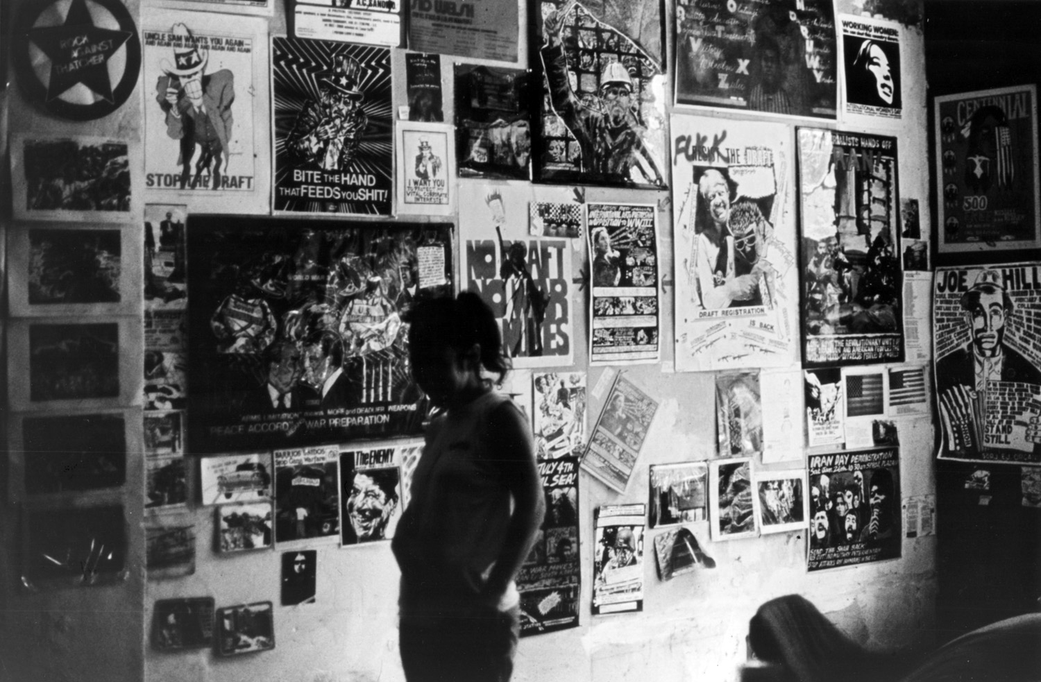 Installation view of International Workers Day show at No Rio shows numerous artworks mailed to the Poster Brigade for their May 1, 1980 show in San Francisco