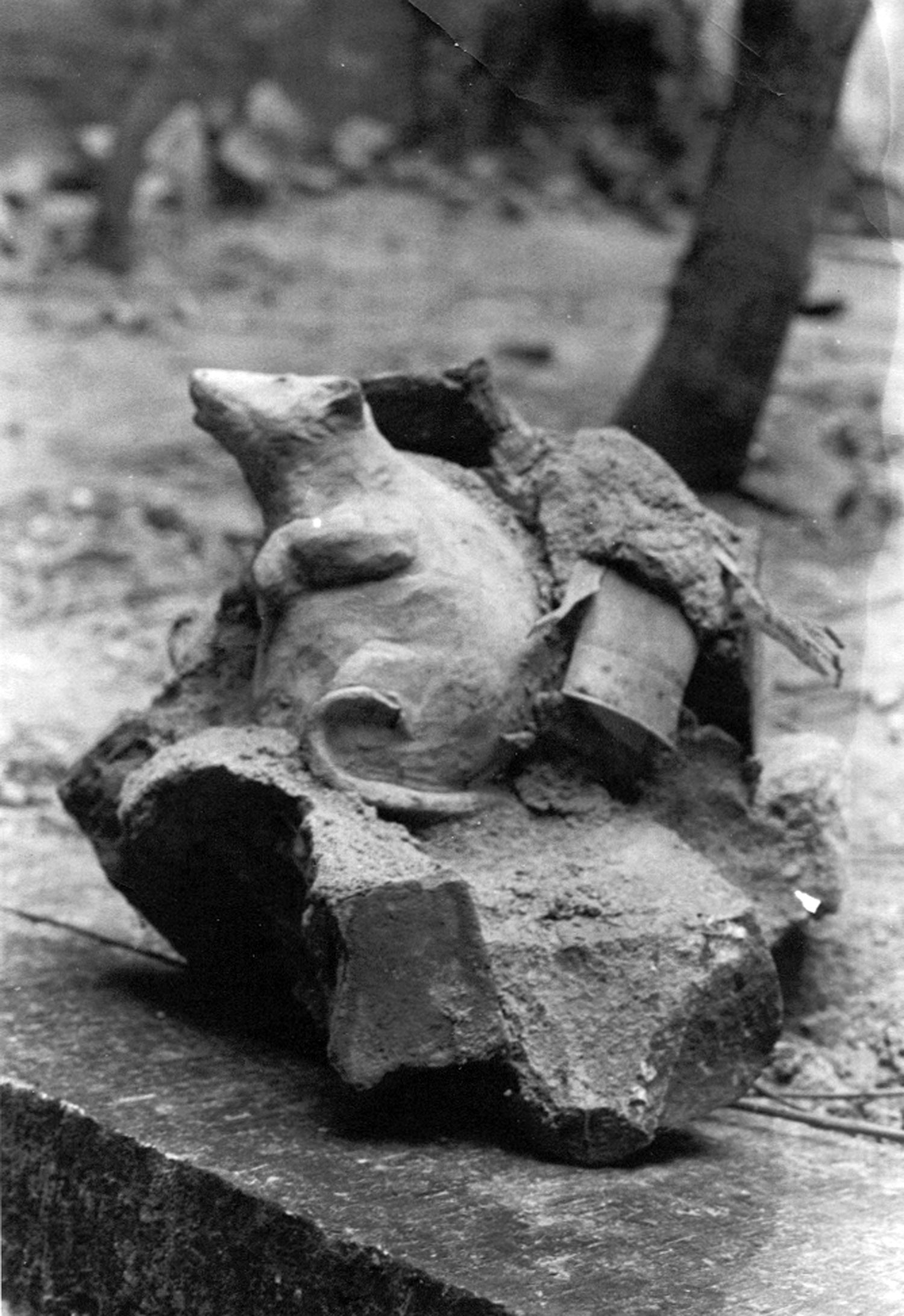 Christy Rupp,  Rubble Rat , cement cast directly onto the brick rubble pile in No Rio's backyard