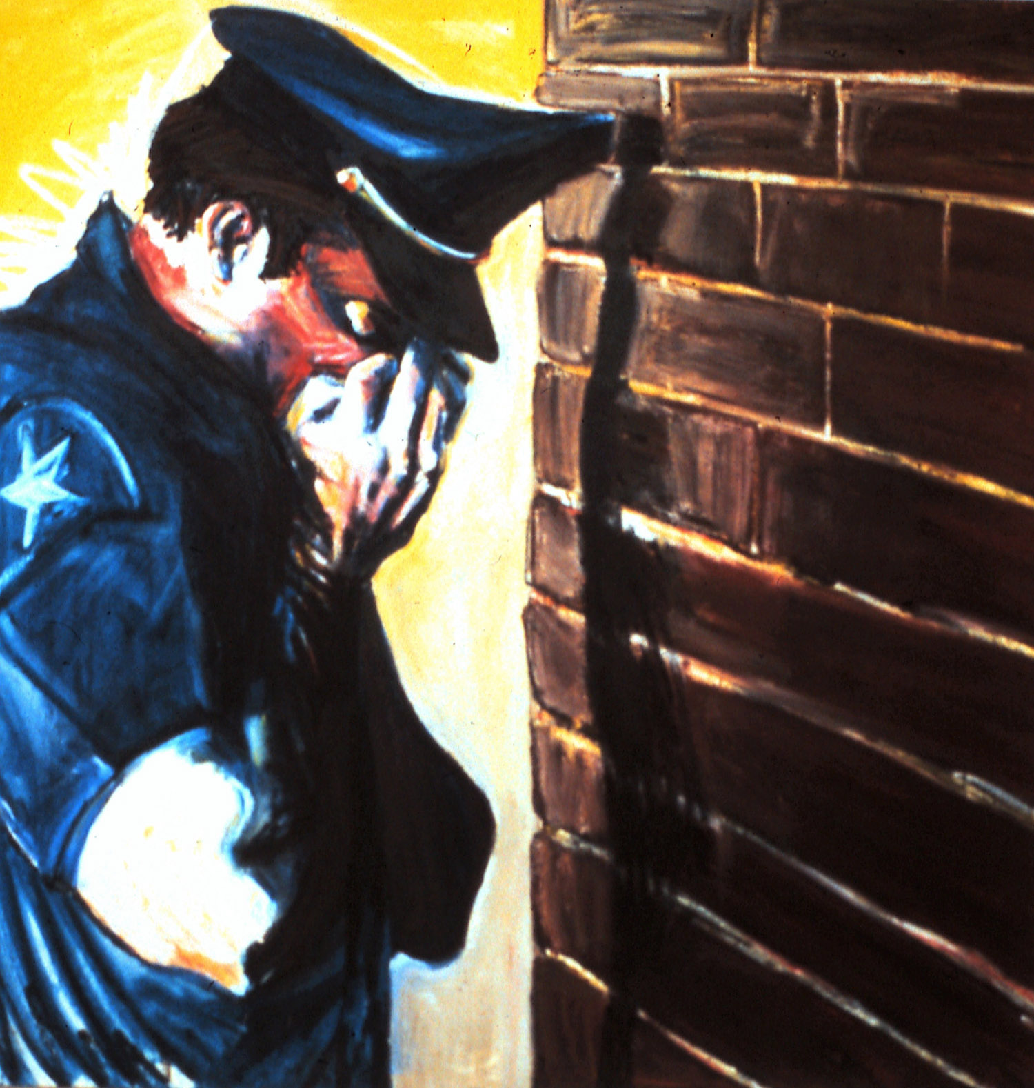 Mike Glier,  Crying Policeman , oil on canvas