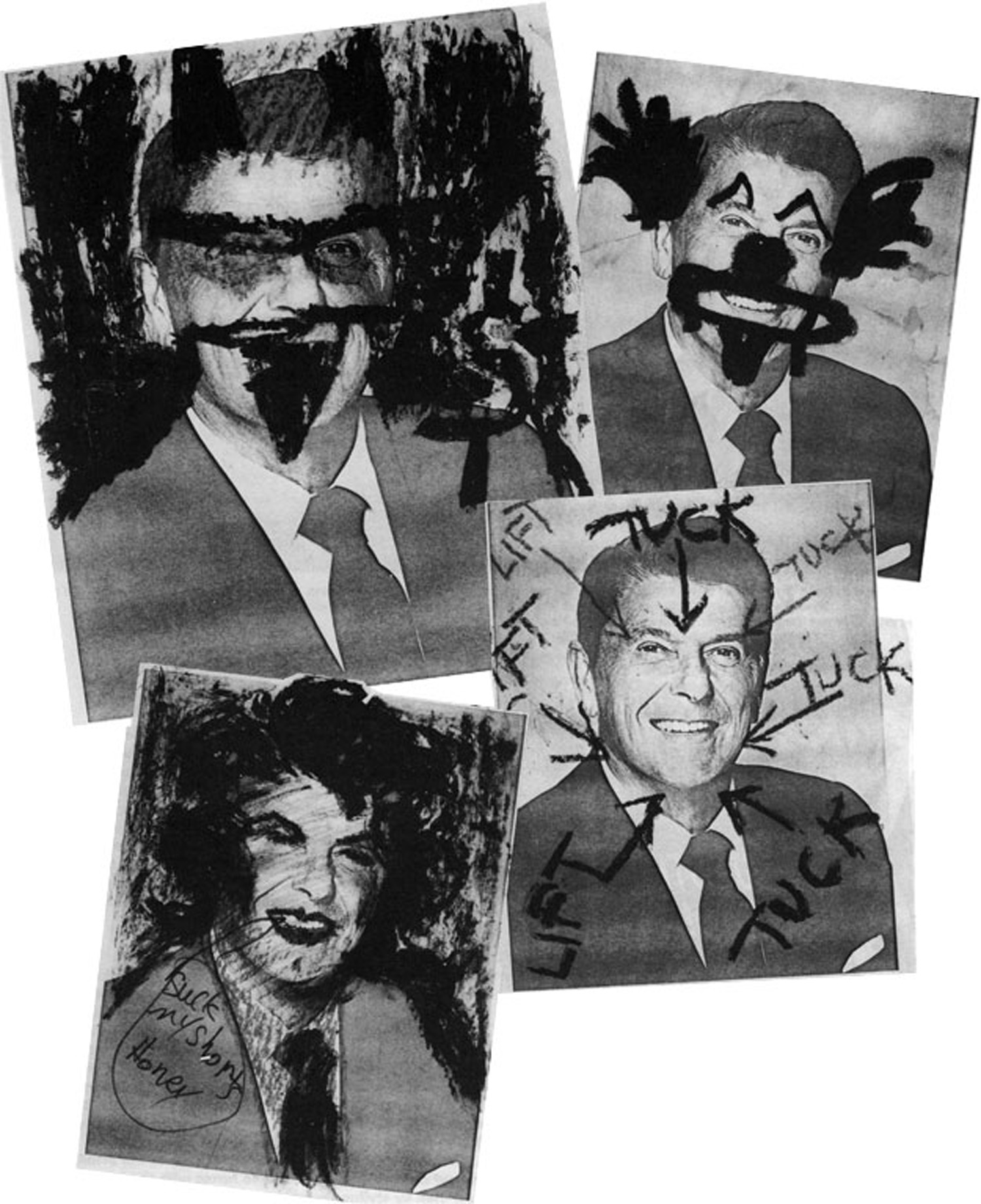 "Individual anonymous graffiti on Reagan portraits, part of the matrix of images at the ""Inagural Reaction"""