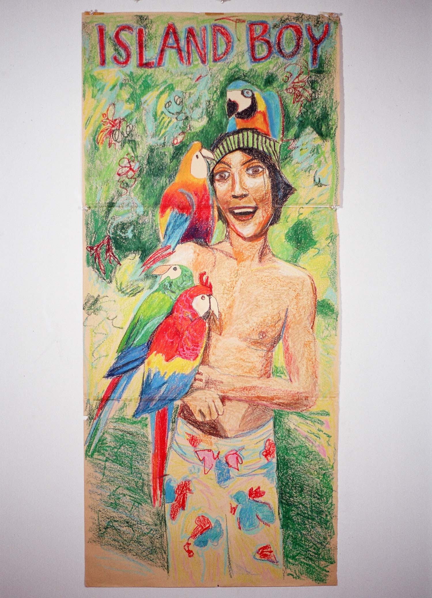 Island Boy , by Walter Robinson, crayon on paper