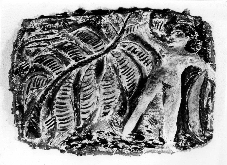 Cave Girl , by Ellen Cooper, painted papier mache plaque