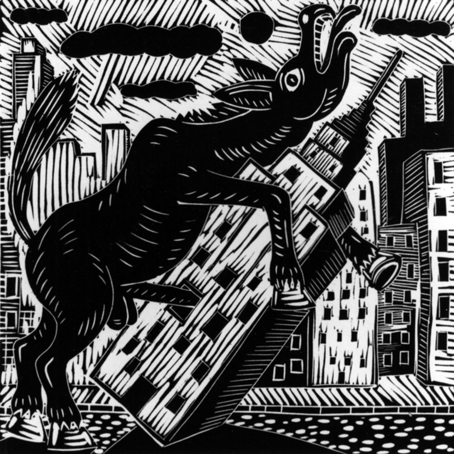 Richard Mock,  Donkey Fucks Empire State Building , linoleum cut based on his painting