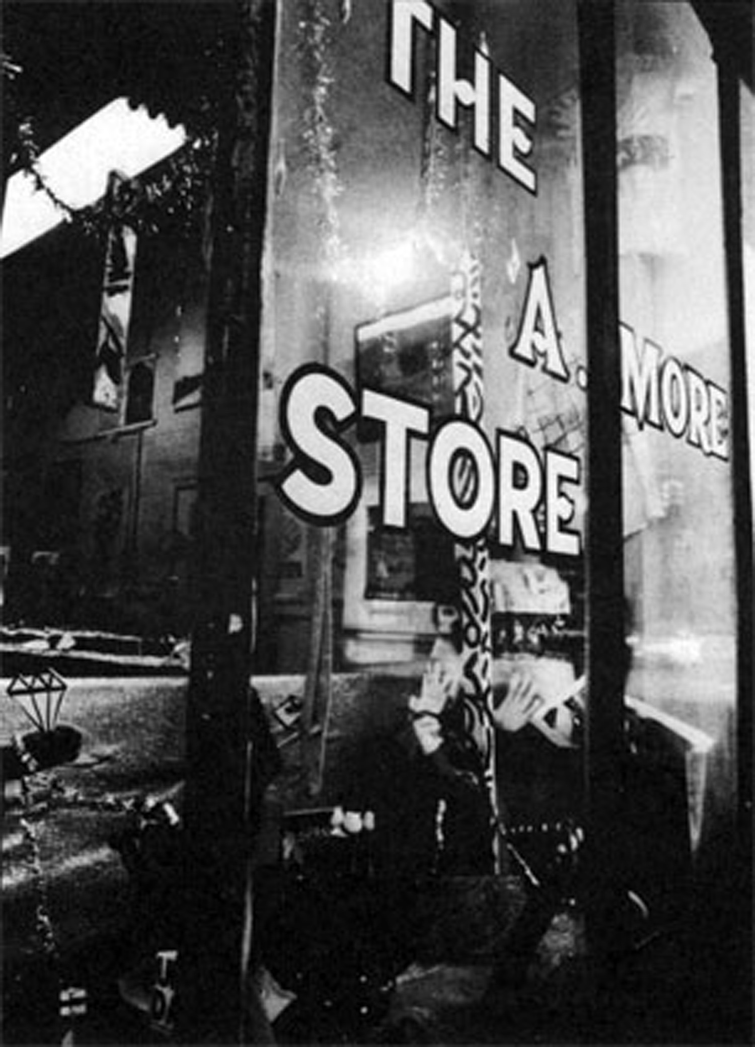 Exterior of the A. More Store, a Colab-sponsored artists' outlet selling low-priced multiples for the holidays, on Broome Street in Soho, 1980. Photo by Teri Slotkin