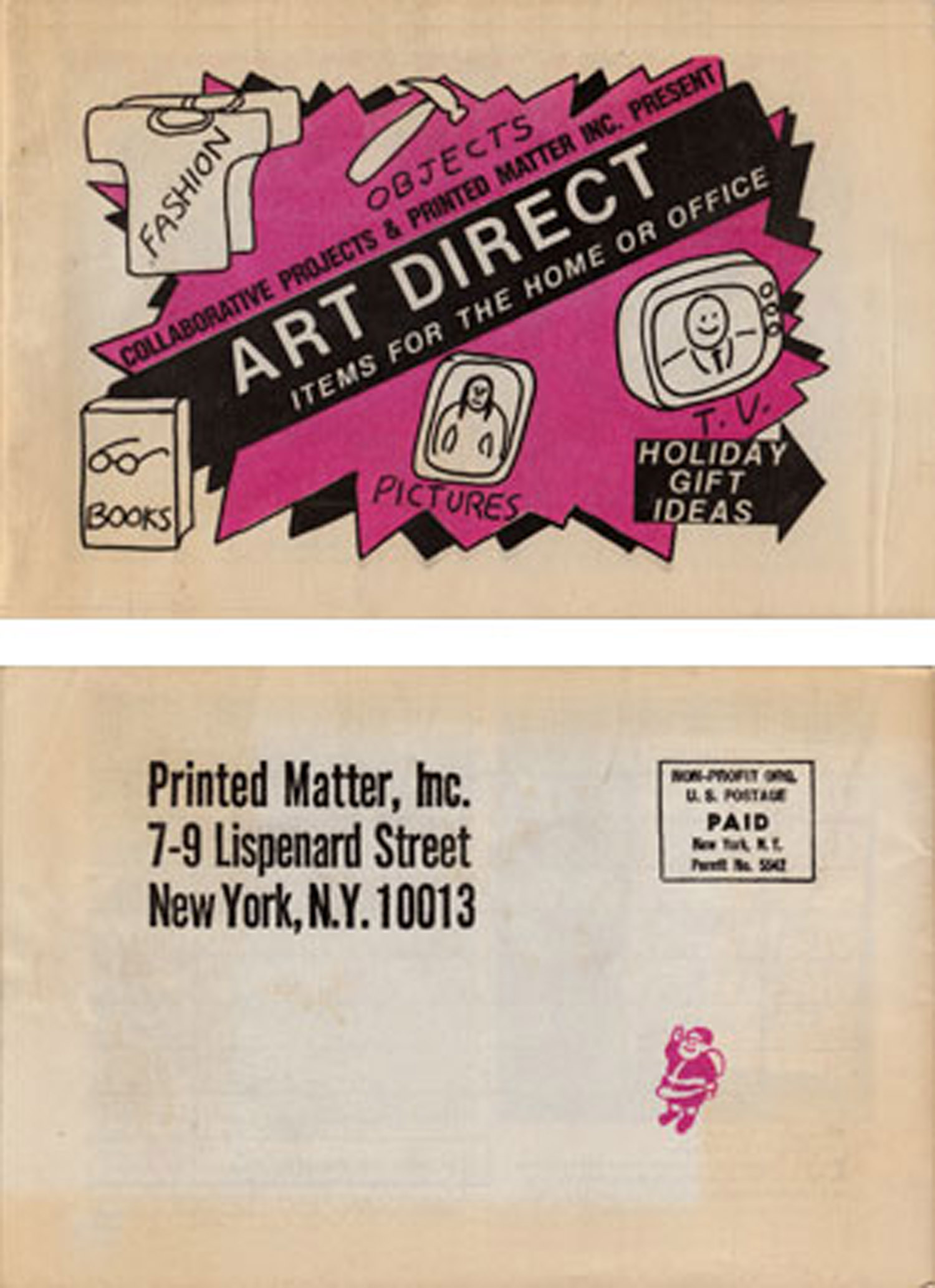 Art Direct, catalogue published by Collaborative Projects & Printed Matter Inc., 1982. Cover design by Tom Otterness