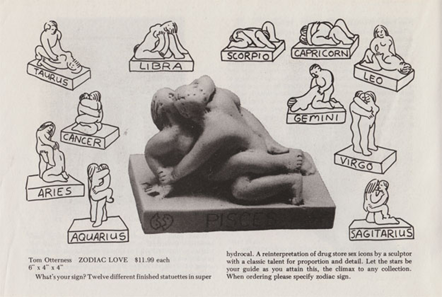 """Tom Otterness, Zodiac Love, $11.99 each"" from Art Direct catalogue, 1982"