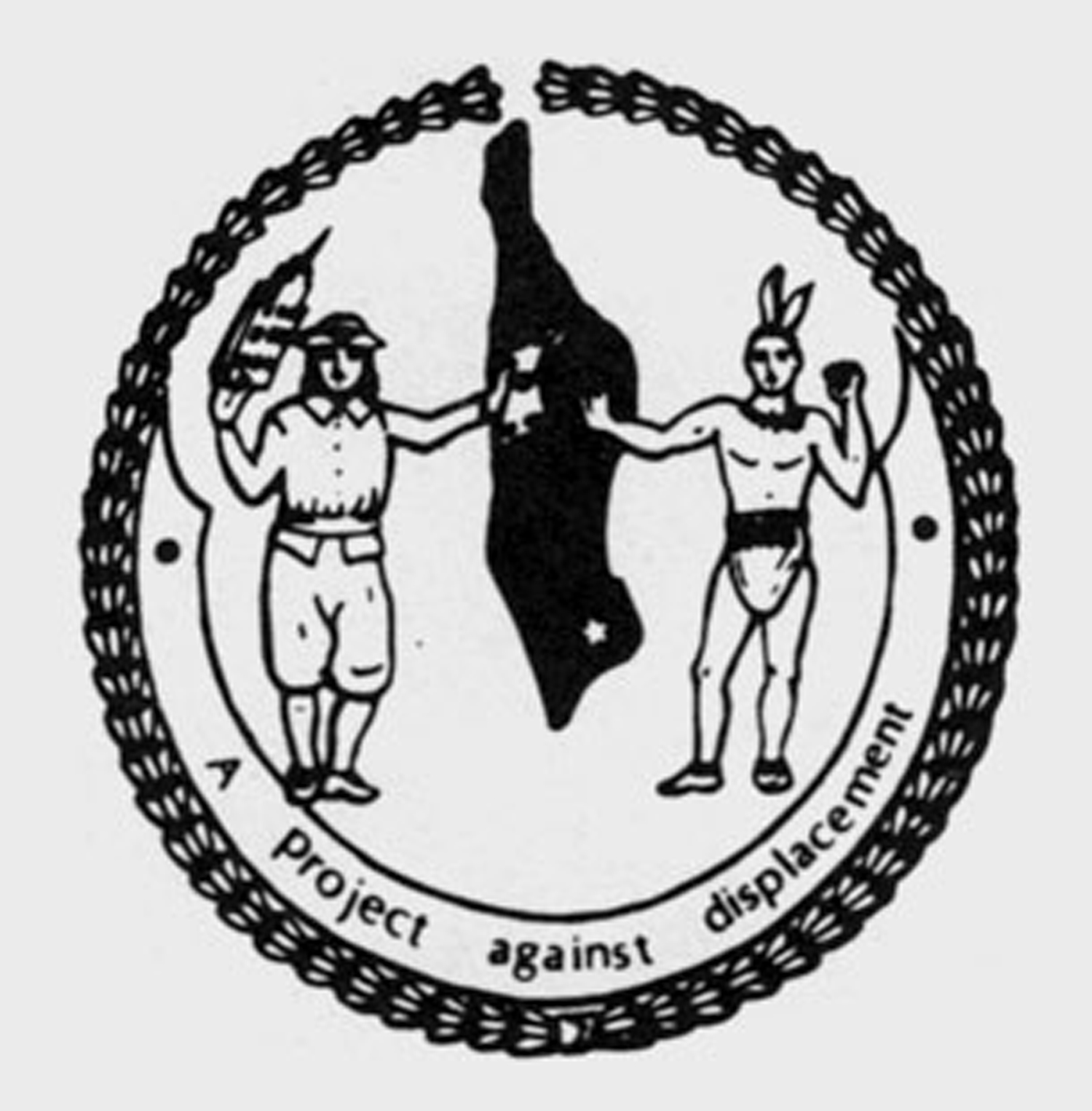 Logo of the Not For Sale committee is based on the City of New York's emblem, except that here the Indian rejects the Dutchman's money.