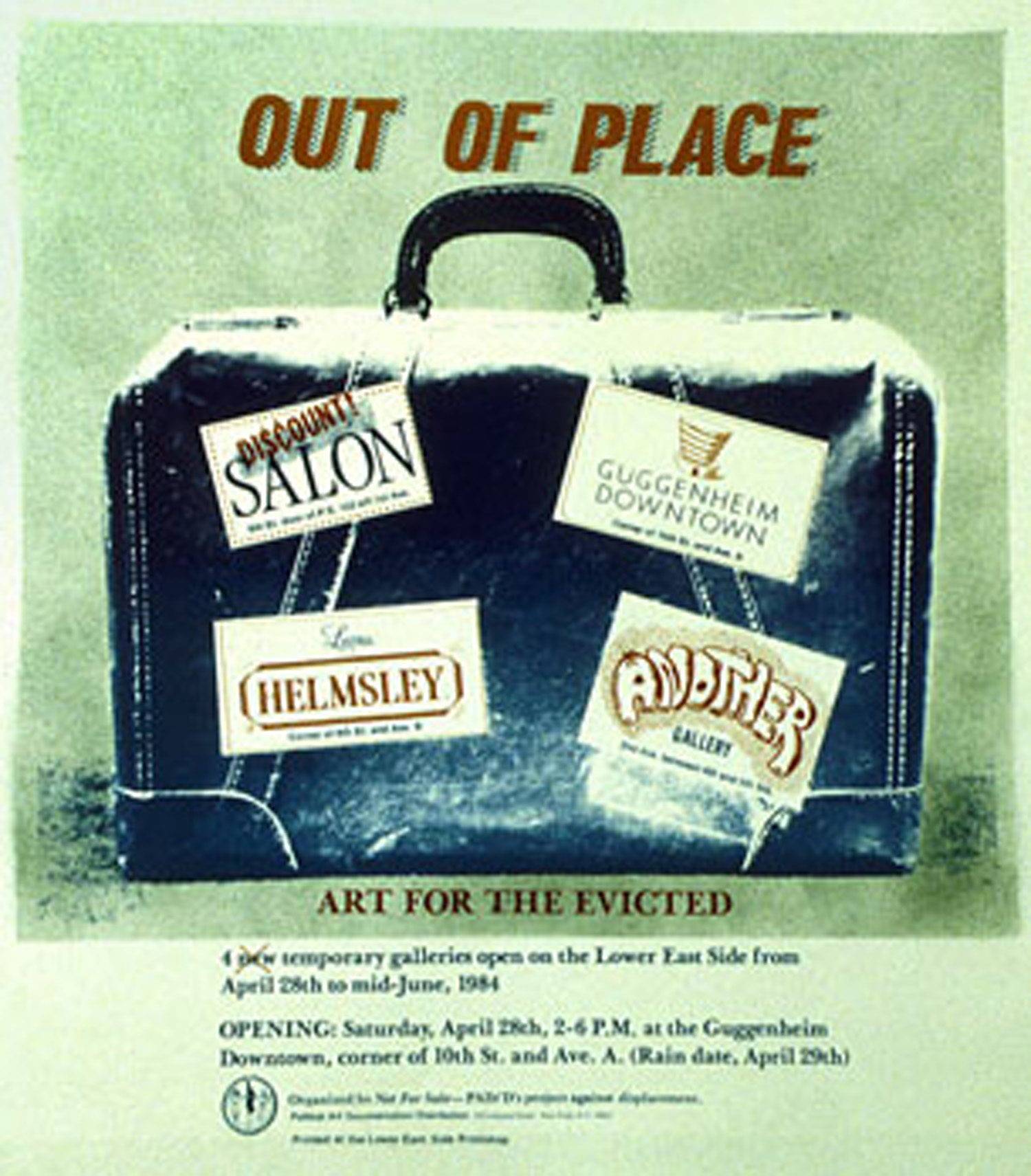 "Collaborative poster design by PADD's Summer 1984 ""Not For Sale"" outdoor exhibition"