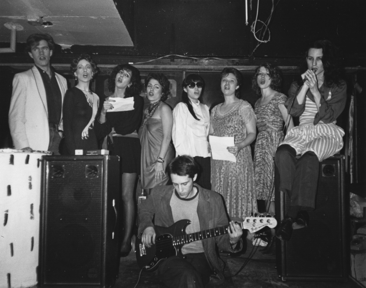Jill Kroesen (far right) with her chorus at No Rio. Photo by Tom Warren
