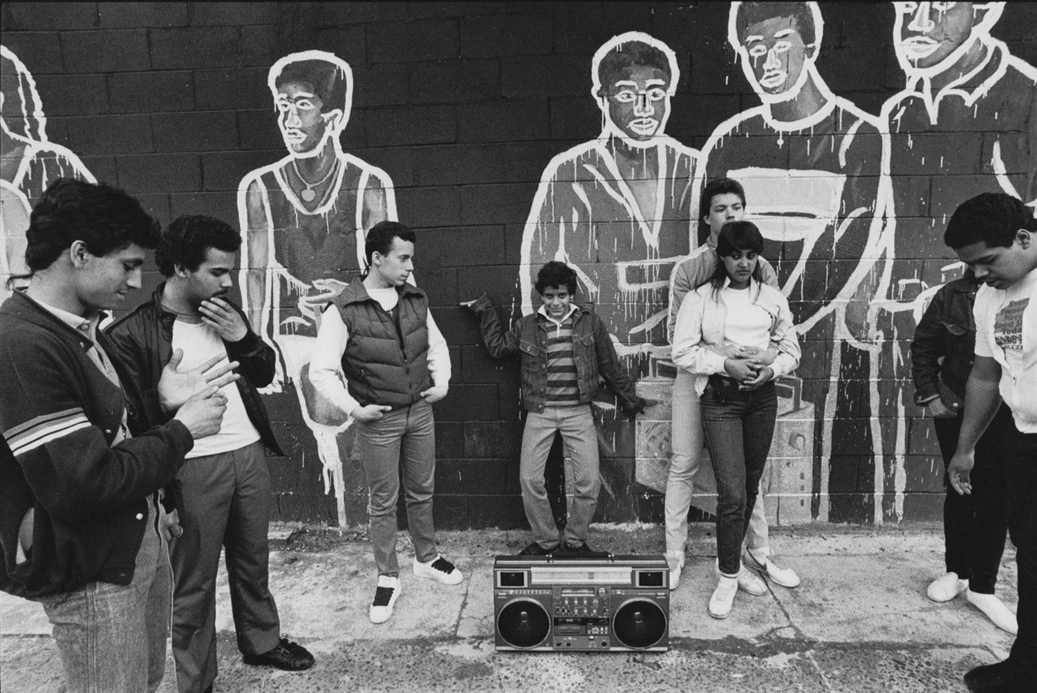 Some of the kids from Suffolk Street who posed for Bobby G's mural. Photo by Ian Dryden