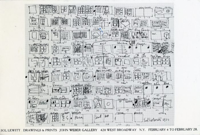John Weber Gallery, Sol LeWitt, Drawings & Prints, Card, 1978